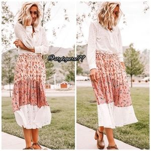 Anthropologie Skirts - NWT, Anthropologie, LAIA Pleated Floral Midi Skirt